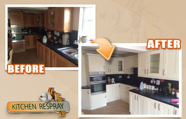 Kitchen respray is one of the services that we specialise in