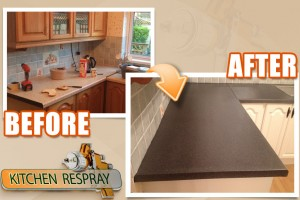 Kitchen countertop resurface to black