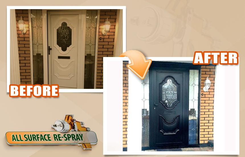 PVC front door black respray