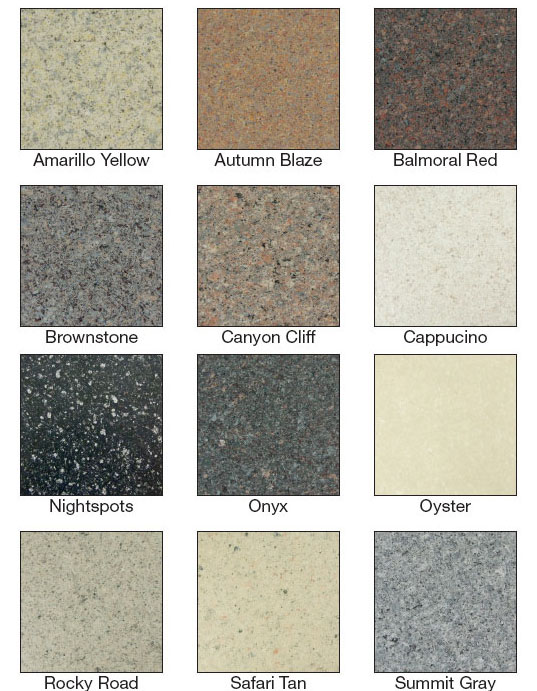 Countertop colours chart