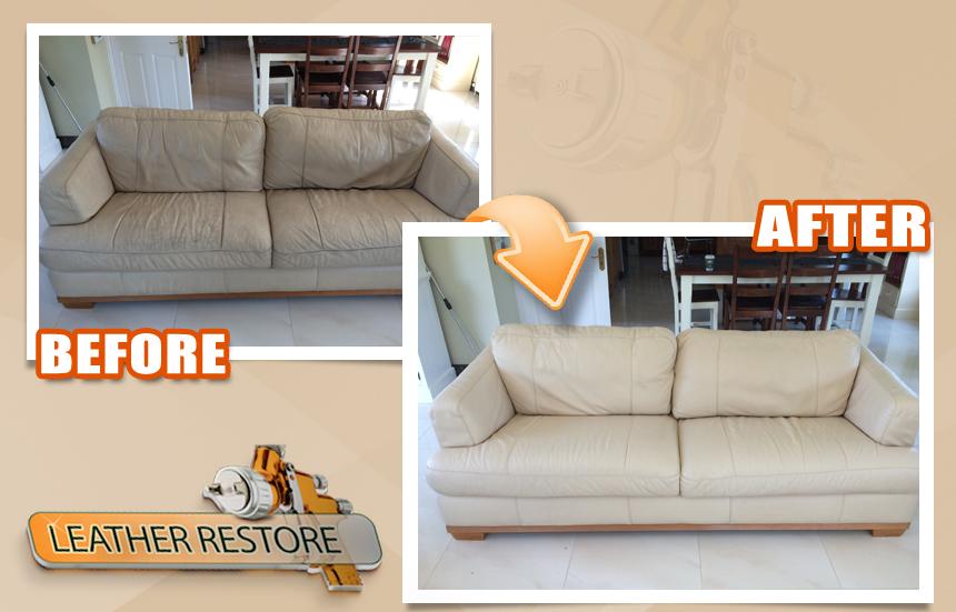 Natuzzi Cream Leather Couch Restoration 2